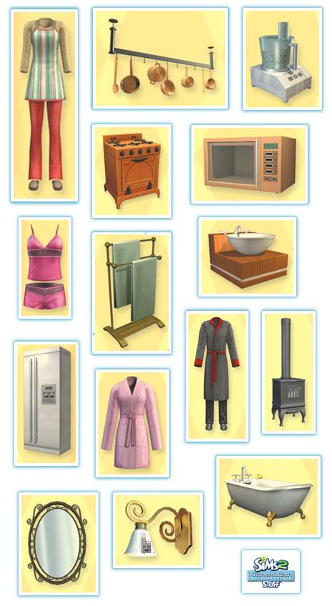 Colash con todos los objetos que se ven en la portada de Los Sims 2 Cocina y Baño Accesorios